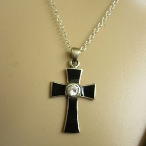 Sterling Cross Black Enamel Rhinestone Necklace